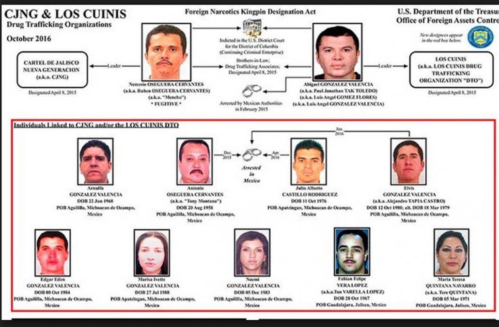 El organigrama de Jalisco Nueva Generación