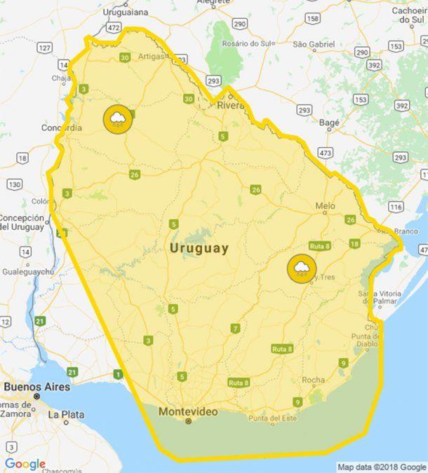 Meteorología extiende alerta amarilla por lluvias intensas a casi todo el país