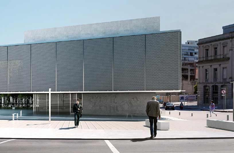 El moderno complejo de la Corporación Andina de Fomento dará cabida a CInemateca Uruguaya. Al lado está el Teatro Solís otra entidad cultural histórica