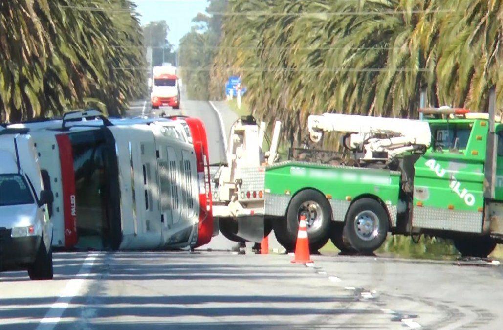 Camión cargado de productos tóxicos volcó en ruta 1 cerca de Colonia