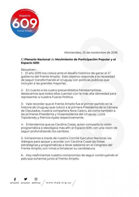 El MPP resolvió apoyar a Carolina Cosse como precandidata del Frente Amplio