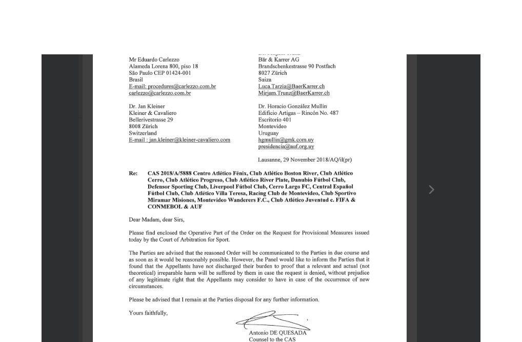 El documento del TAS que esta mañana llegó a los clubes del G-10. Un revés y un plazo que termina mañana. Si no se vota el estatuto
