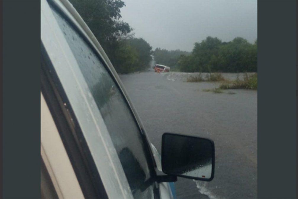 Ómnibus despista en una ruta completamente inundada y pasajeros tienen que ser evacuados