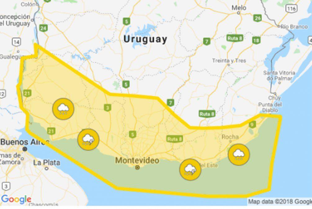Alerta amarilla por persistencia de tormentas y lluvias; 11 departamentos afectados