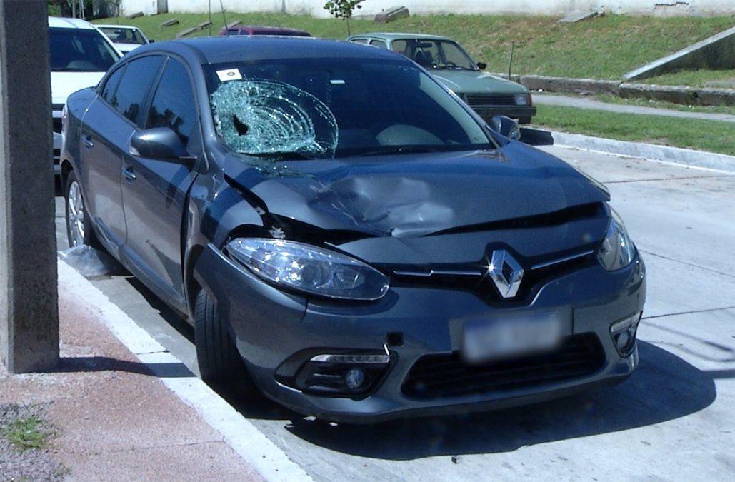 Así quedó el auto del futbolista de Peñarol tras el accidente.