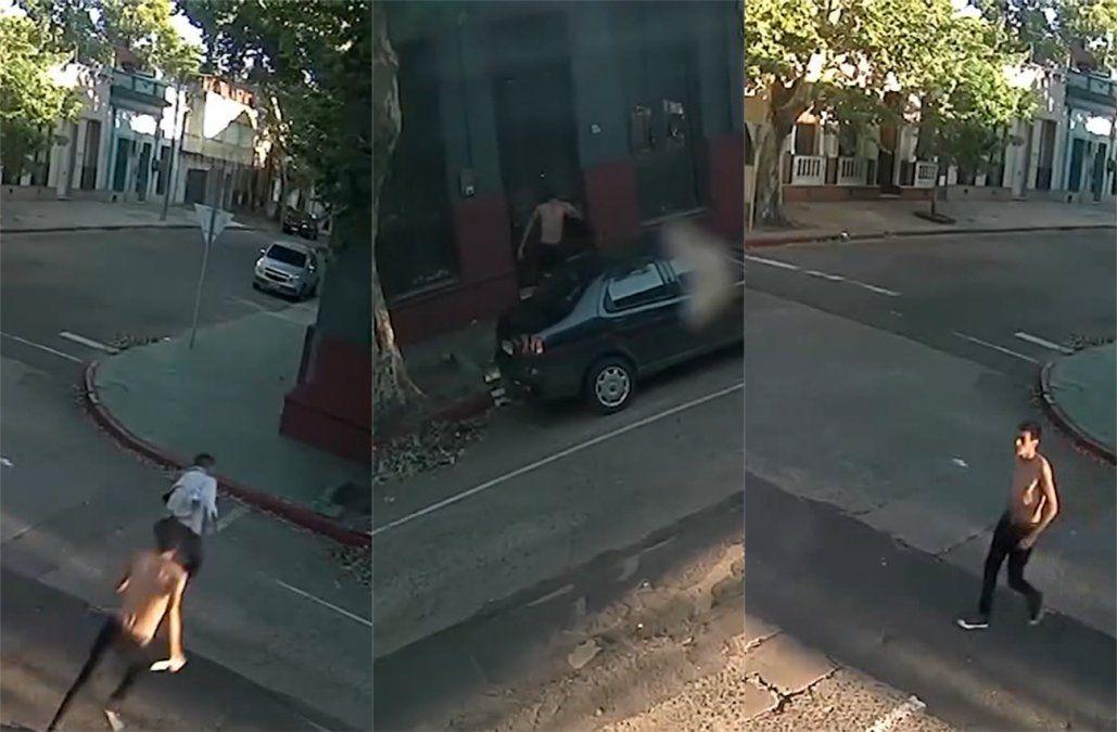 Un hombre apuñaló a otro en plena calle, lo siguieron con las cámaras y fue detenido