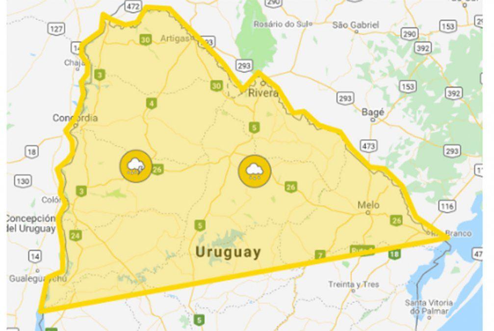 Alerta amarilla por tormentas fuertes y lluvias intensas para 14 departamentos