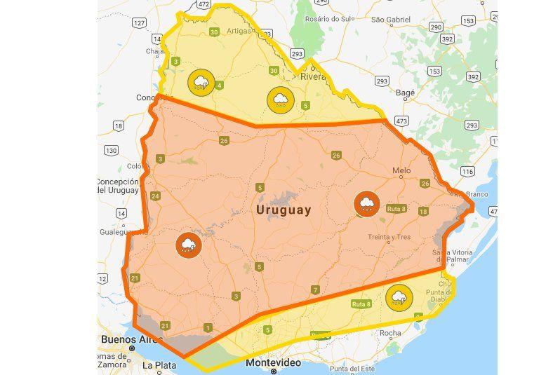Alertas amarilla y naranja cubren casi todo el territorio nacional