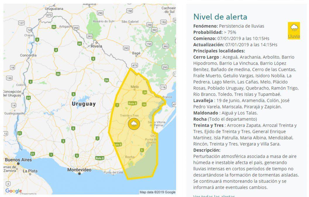 Nueva alerta amarilla por persistencia de lluvias para el Este y Noreste