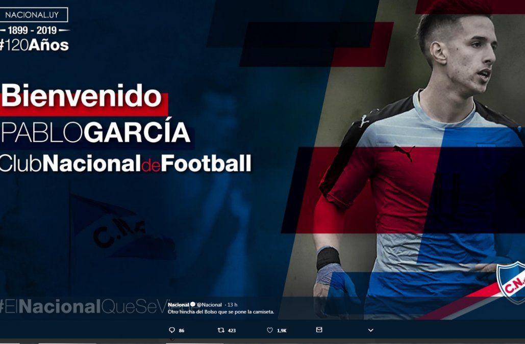 Así fue recibido García en redes sociales por Nacional.
