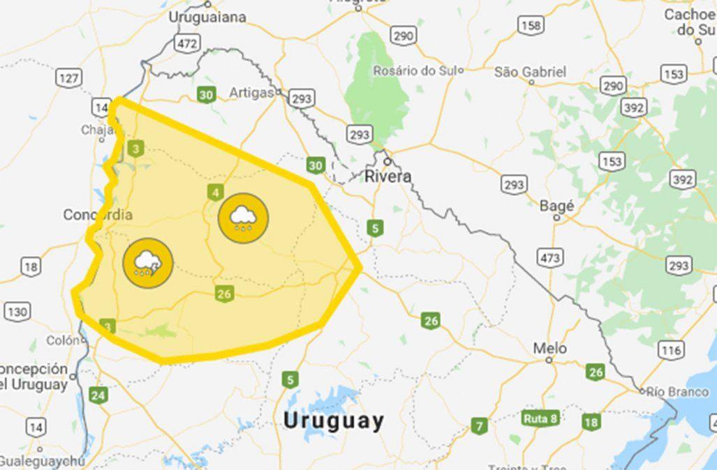 Alerta amarilla por tormentas fuertes y lluvias intensas para cuatro departamentos