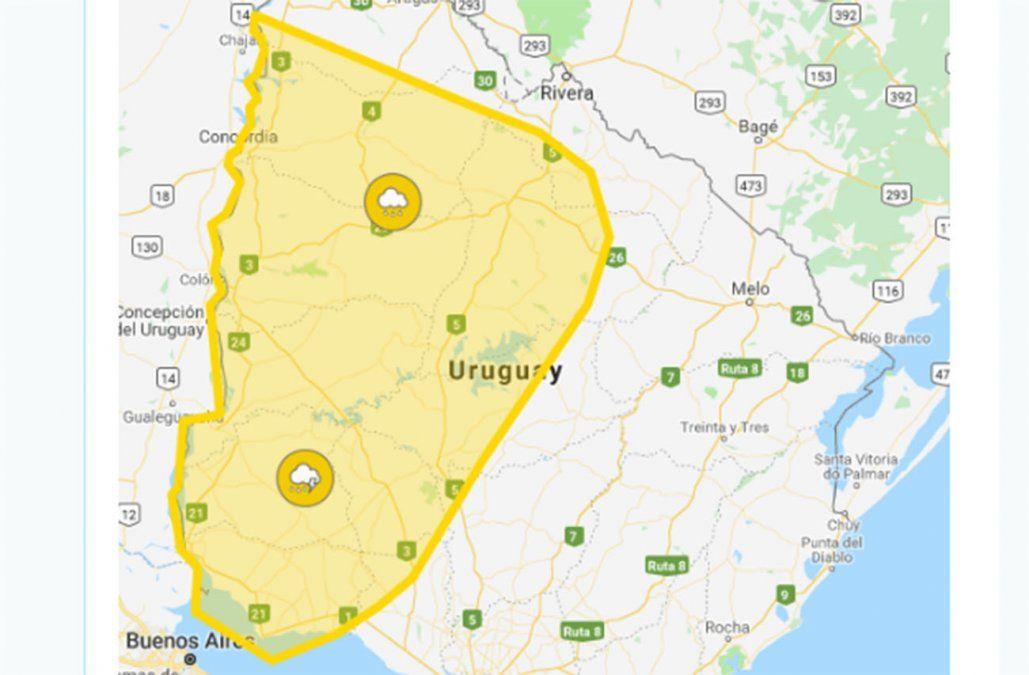 Alerta amarilla en 11 departamentos por tormentas fuertes y lluvias intensas