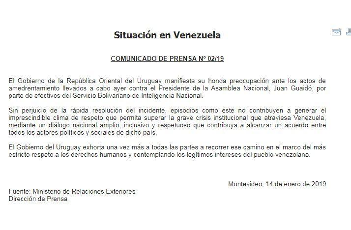 Cancillería uruguaya rechaza detención de líder opositor venezolano