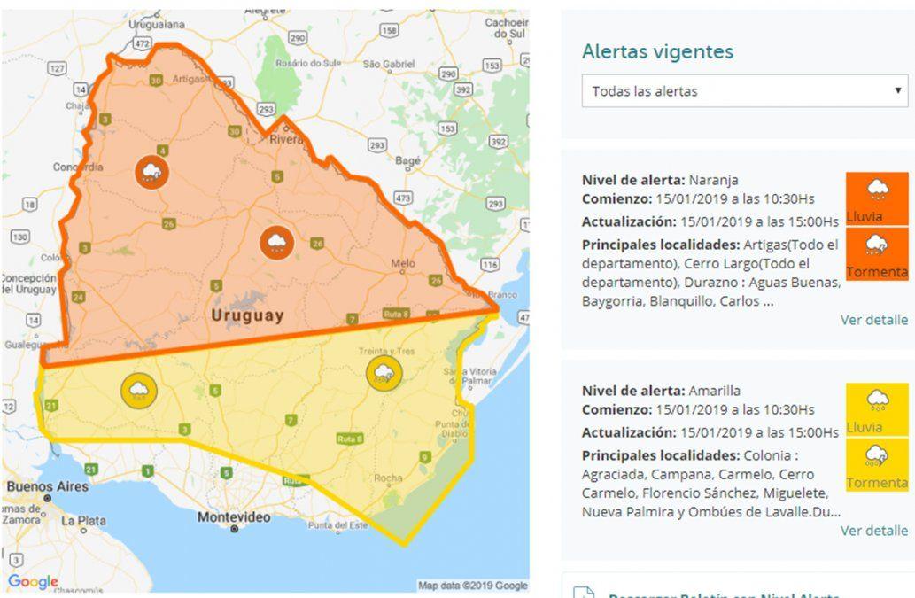 Alerta naranja por persistencia de tormentas en la mitad del país