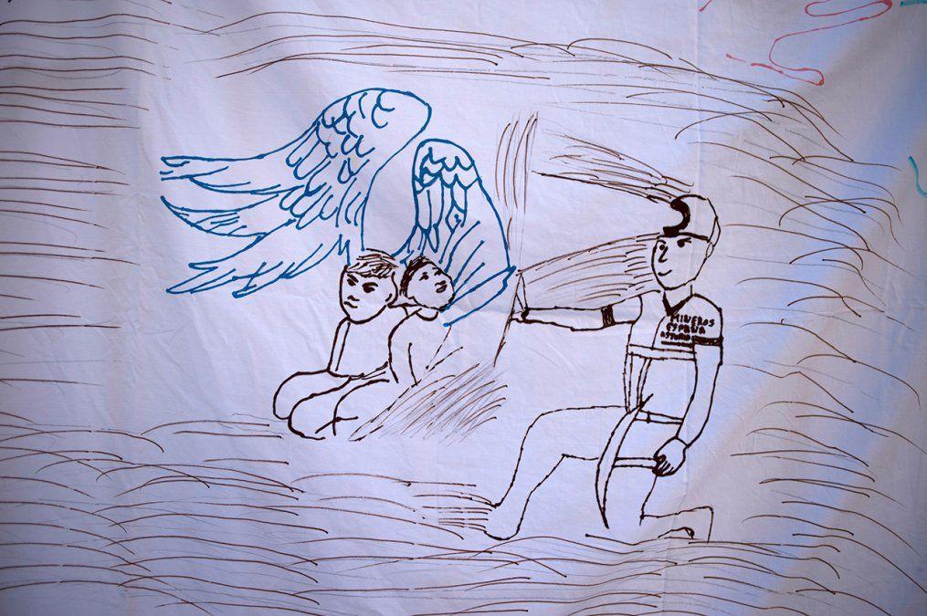 Foto: Dibujo dejado este sábado en una vigilia por Julen.