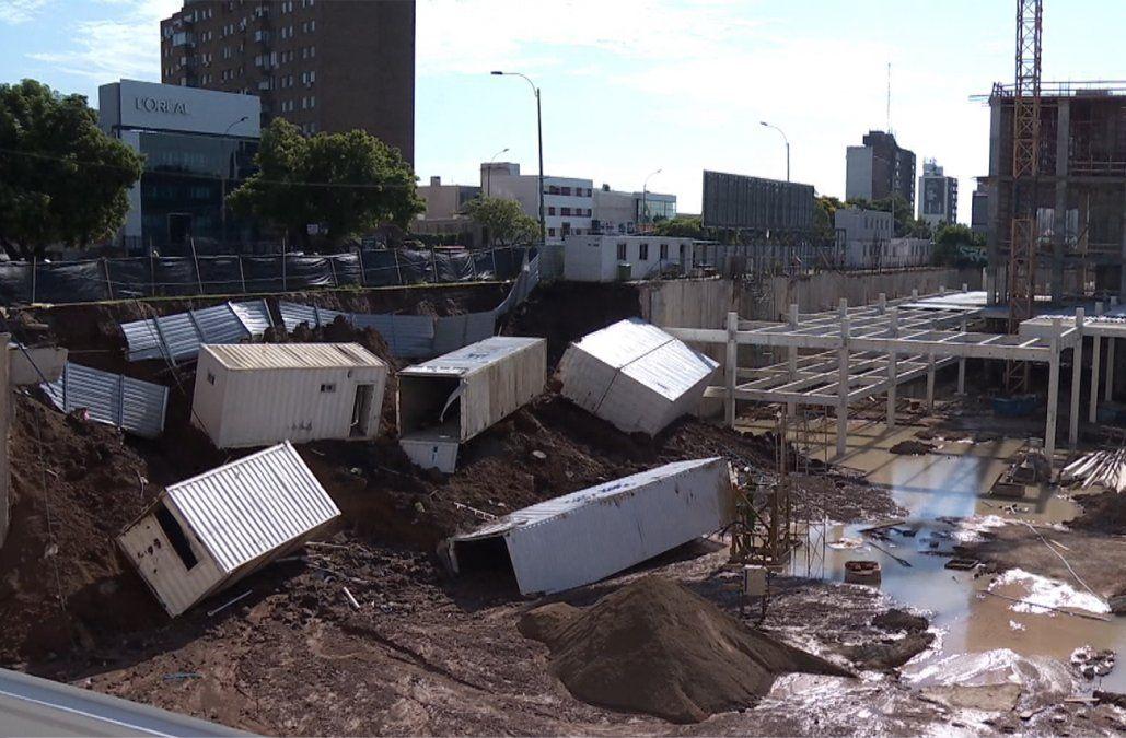 Clausuran obras del shopping de Malvín por derrumbe de muro de contención