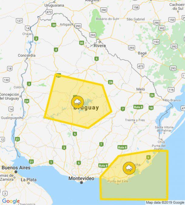 Nueva alerta amarilla por tormentas fuertes, ahora al centro y sudeste del país