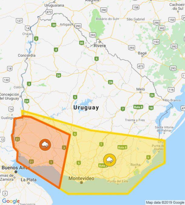 Doble alerta naranja y amarilla por tormentas fuertes en el sur del país