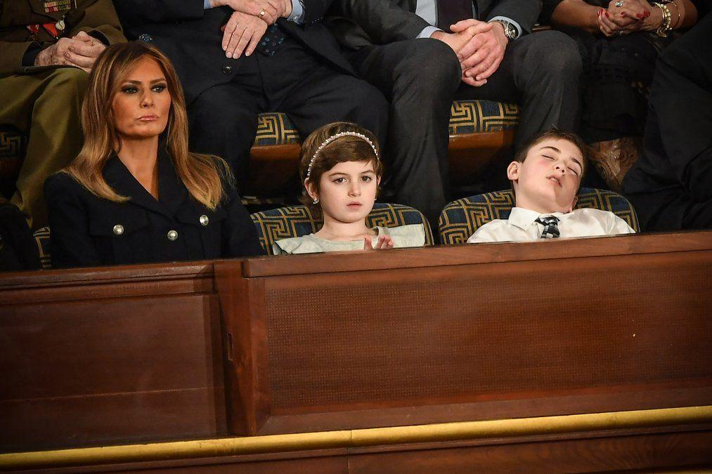 Melania Trump con Grace Eline y Joshua Trump