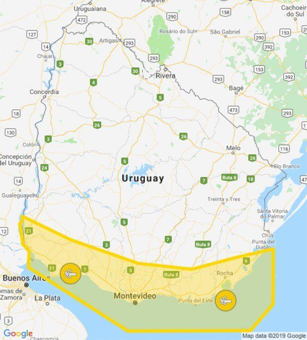 Se mantiene alerta amarilla por vientos fuertes para toda la costa sur del país
