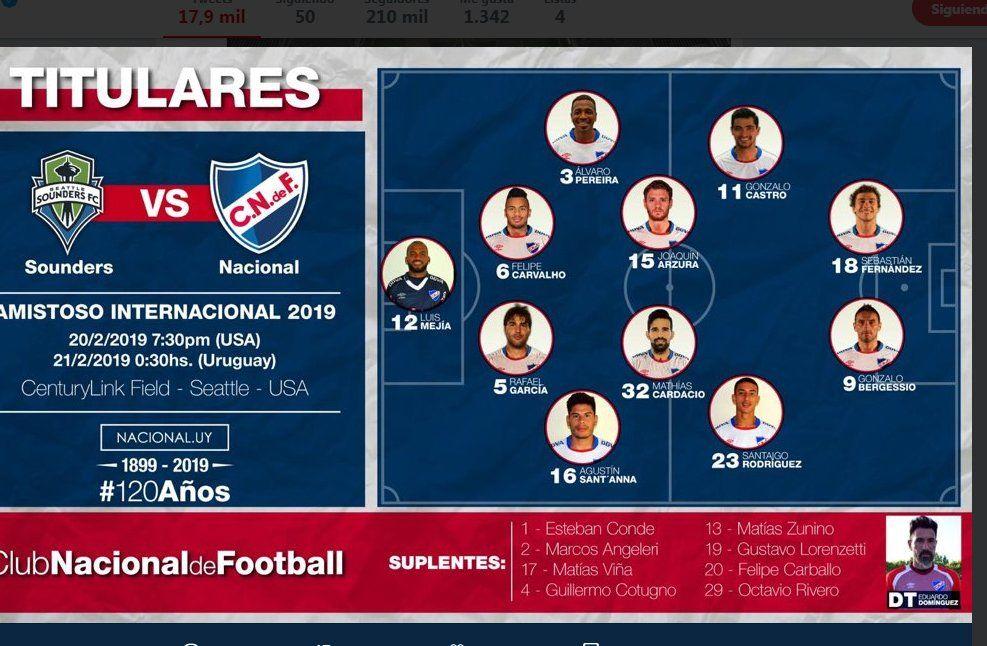 Nacional le ganó 2 a 0 al Seattle Sounders de Nico Lodeiro