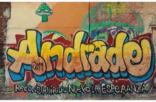 Felipe Cabral pintó un mural en apoyo al precandidato frenteamplista Oscar Andrade