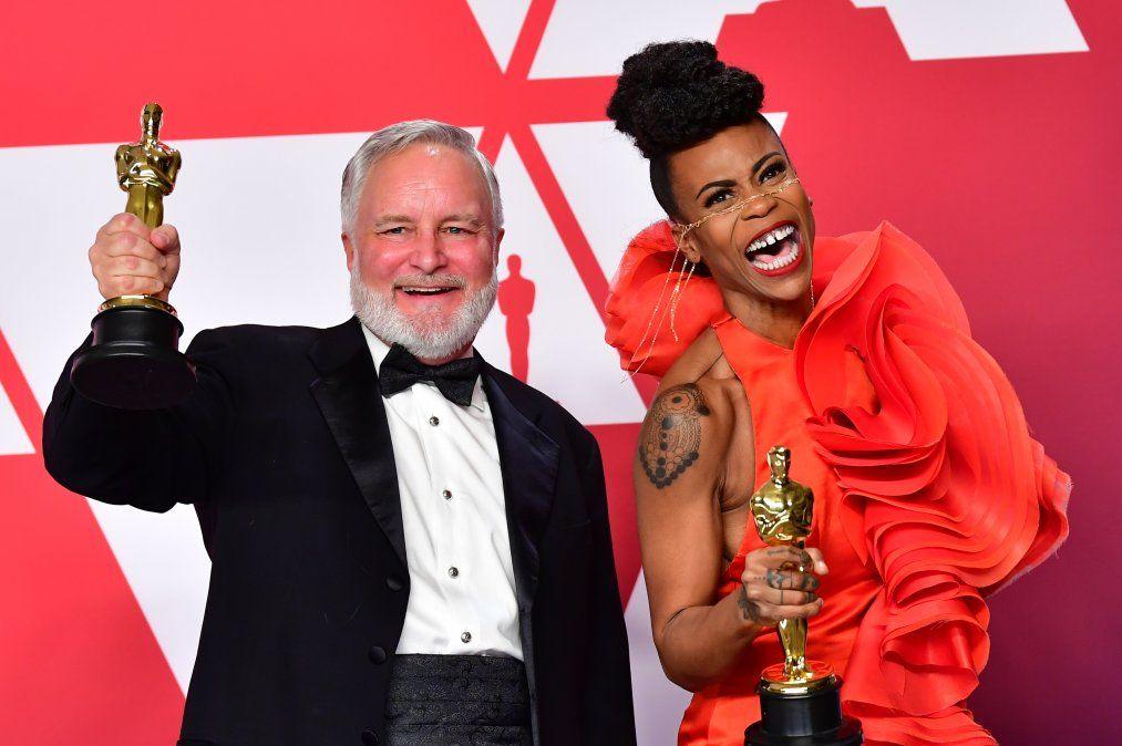 Jay Haty y Hannah Beachler festejan el premio a Mejor Diseño de Producción para Black Panther