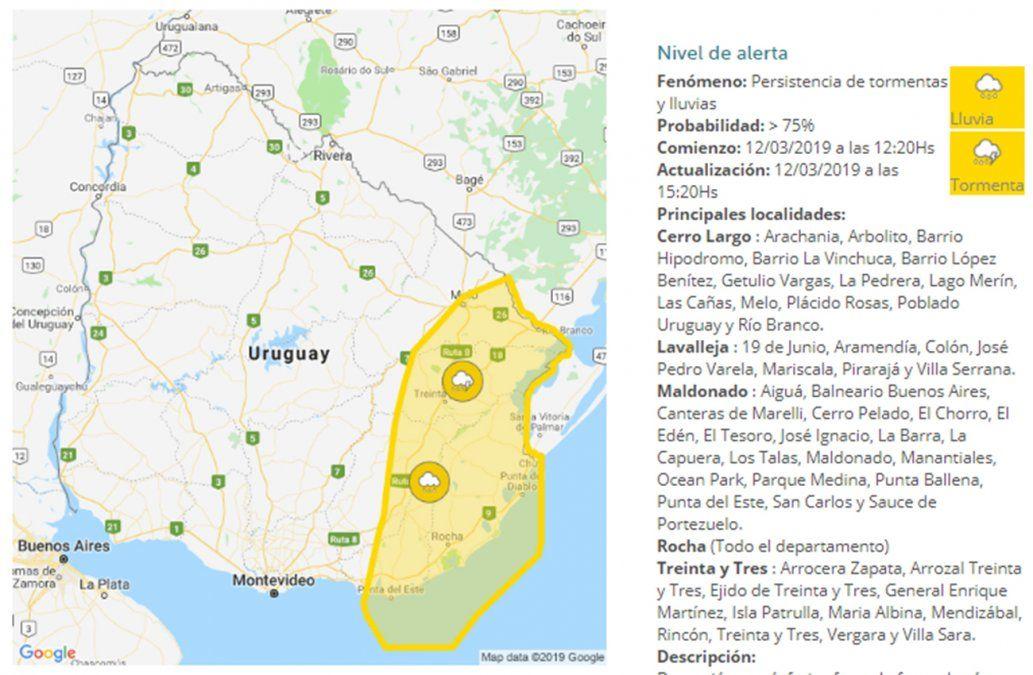 Otra advertencia amarilla por tormentas: ahora afecta al Este del país