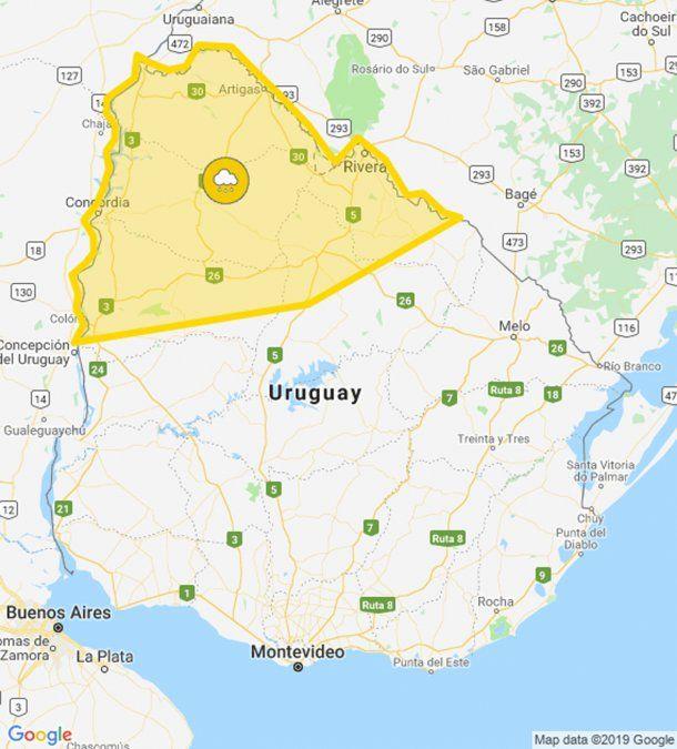 Advertencia amarilla por tormentas fuertes y lluvias intensas para el norte