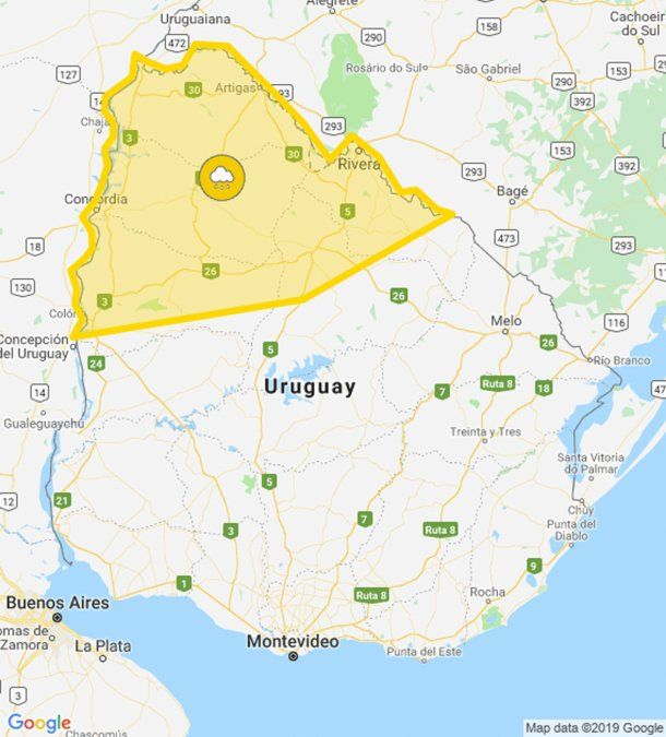 Rigen una alerta por tormentas fuertes para Córdoba