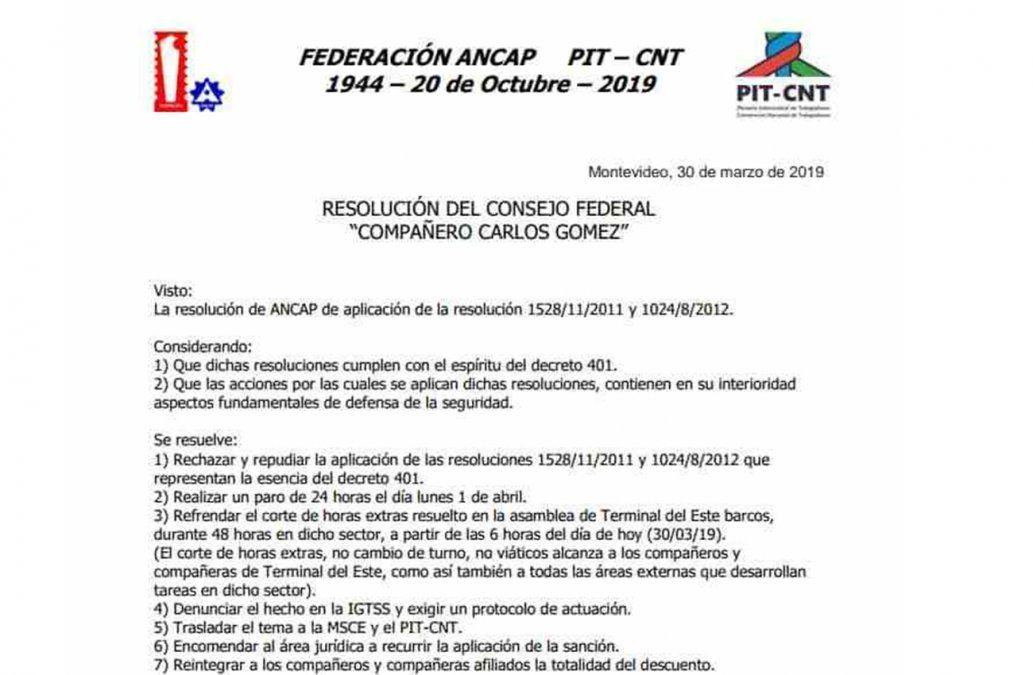 El lunes no habrá distribución de combustible por paro de trabajadores de ANCAP