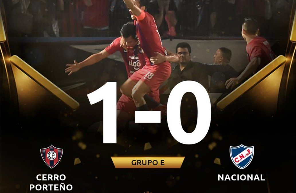 Nacional cayó ante Cerro Porteño que quedó como único lider del grupo E