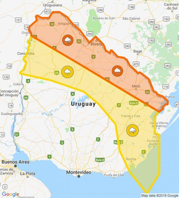 Actualizan doble alerta naranja y amarilla por tormentas y vientos fuertes