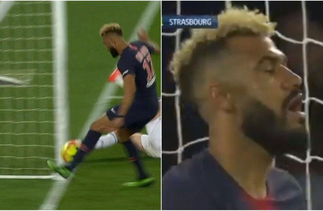 El delantero camerunés pone cara de circunstancia después de errar un gol sacando la pelota de adentro del arco. Era más fácil hacerlo que errarlo.