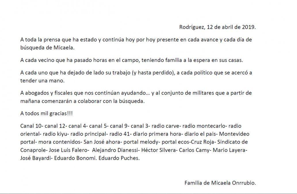 Se suman 120 efectivos militares a la búsqueda de Micaela Onrrubio en Rodríguez