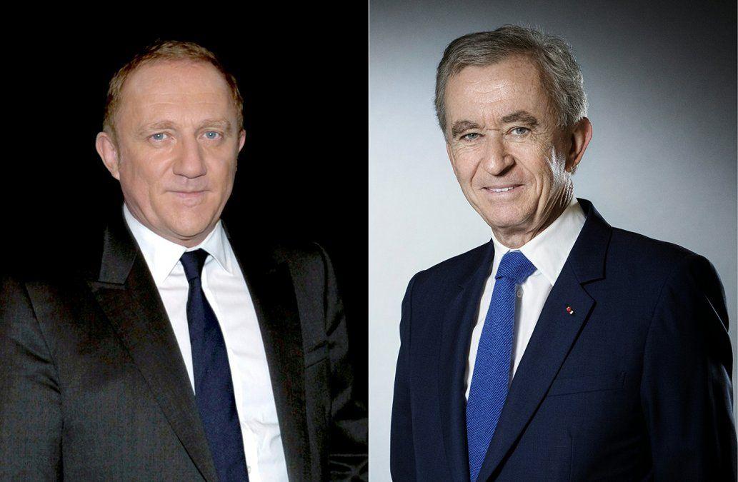 El CEO del lujoso grupo Kering Henri Pinault (izquierda) y el CEO de LVMH Bernard Arnault (derecha)