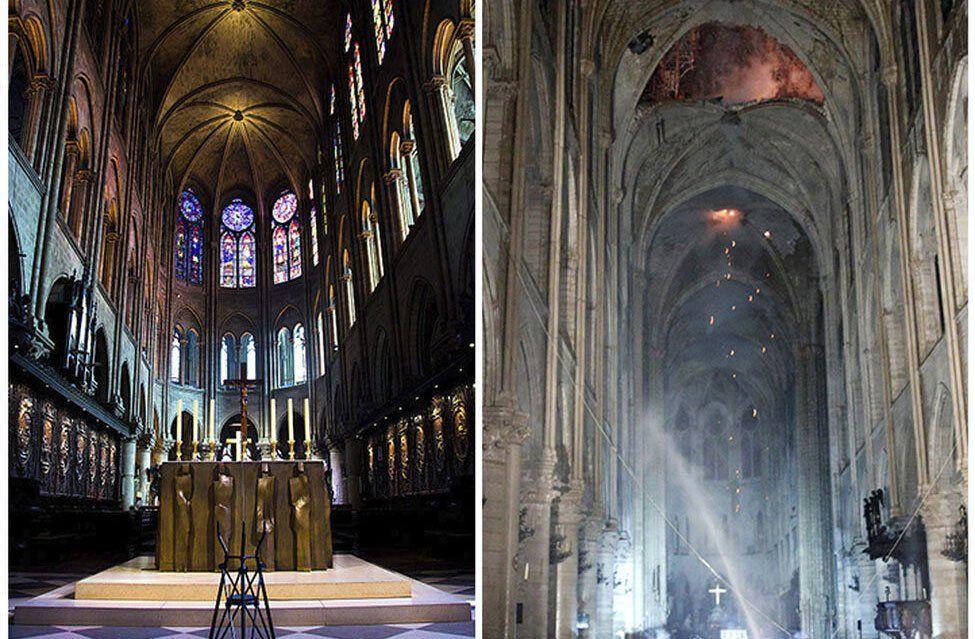 Imágenes del antes y después del altar de la catedral de Notre-Dame