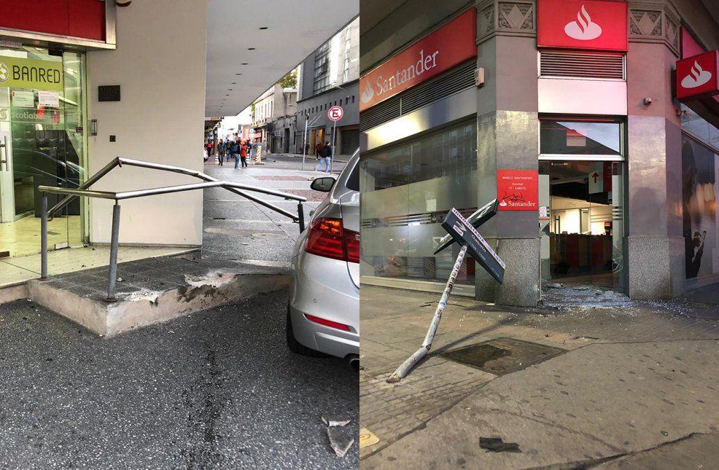 Siniestros de tránsito causaron destrozos en dos bancos sobre 18 de Julio
