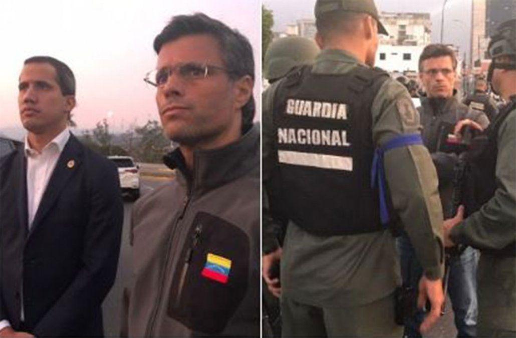 Leopoldo López junto a Guaidó. Se encuentra en la Base Militar La Carlota