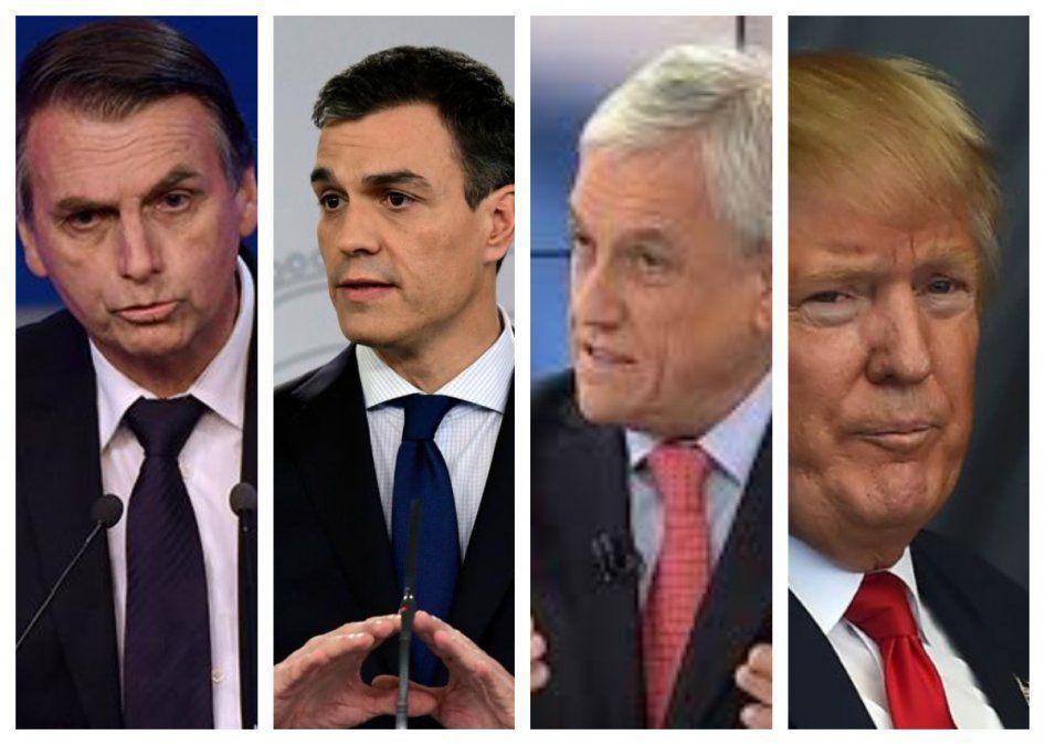 Eastos presidentes dieorn su apoyo anticipado a Guaidó. España es el más cauto luego de conocerse el golpe de Estado