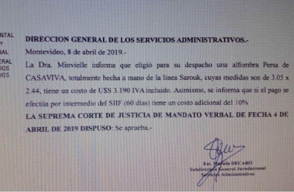 Poder Judicial anuló compra de alfombra de US$ 3.190 para despacho de ministra Minvielle