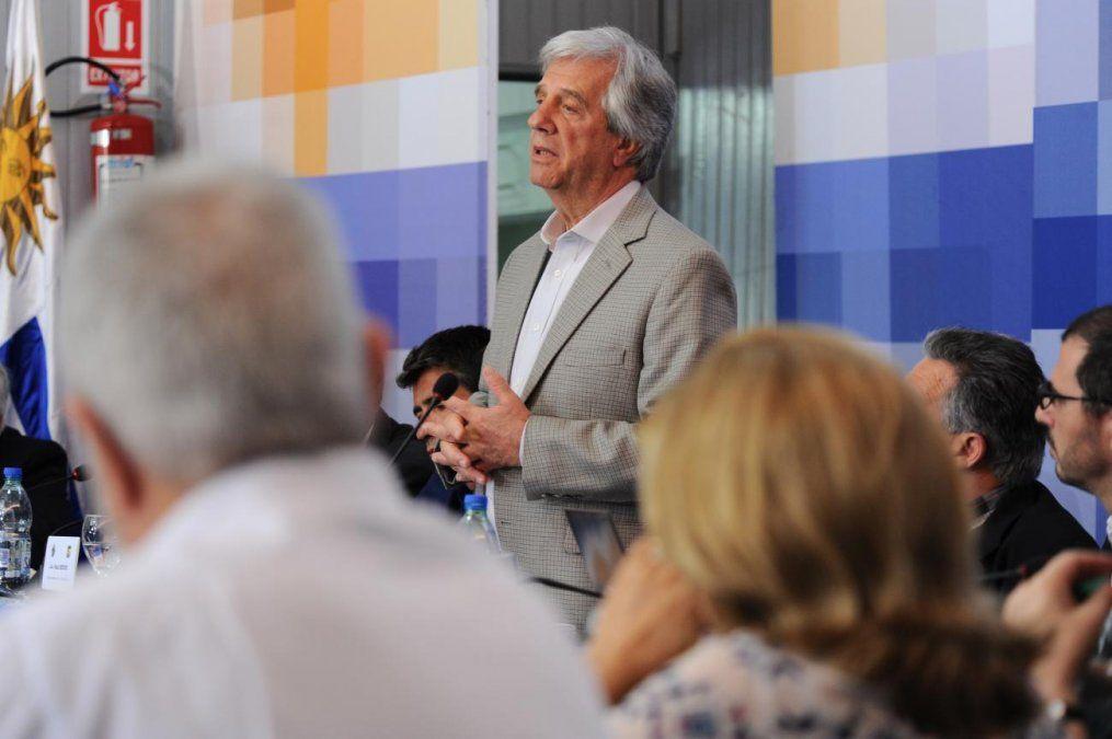 Vázquez haciendo uso de la palabra el 18 de febrero en Pueblo Centenario.