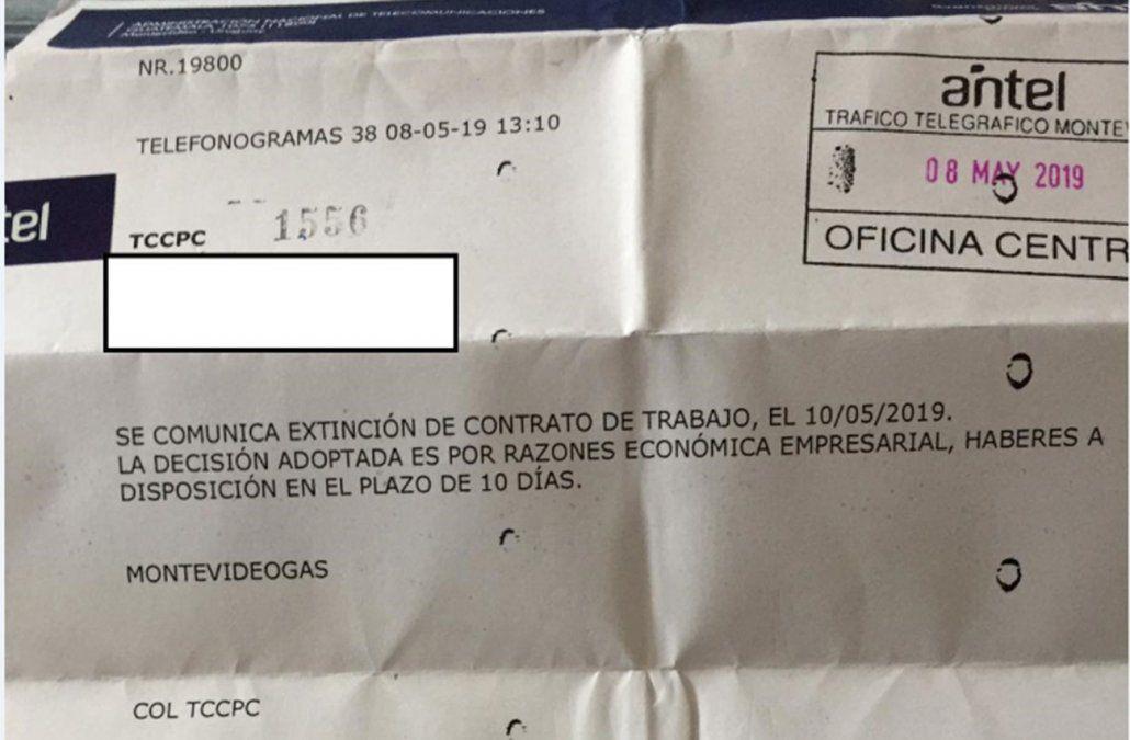 Foto: Telefonograma enviado a trabajadores despedidos de Montevideo Gas.