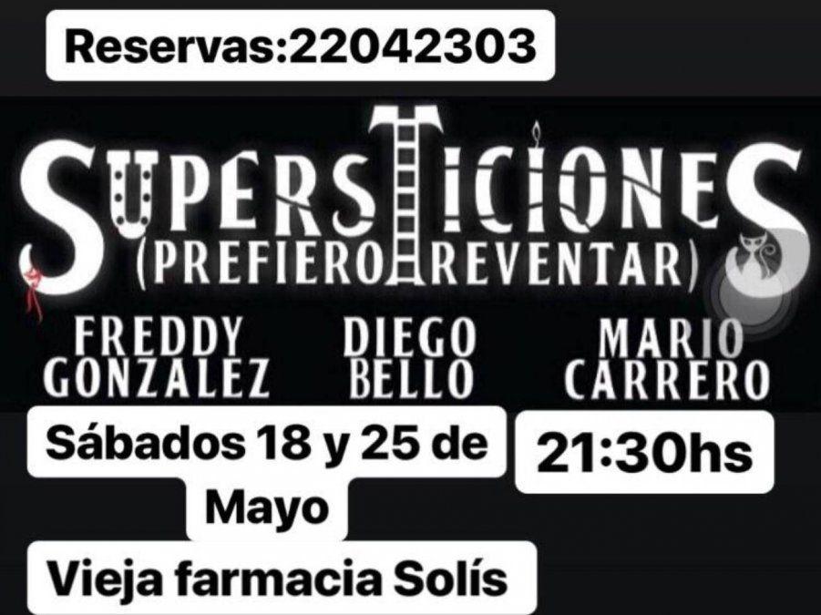 Mario Carrero, Diego Bello y Freddy González presentan Supersticiones