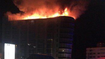 Gran incendio se desató en la terraza del The Grand Hotel de Punta del Este