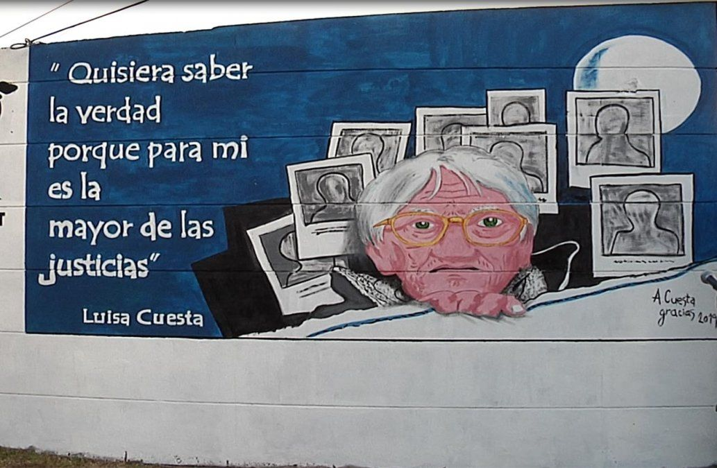 Alfredo Cuesta homenajeó a Luisa Cuesta con un mural en la plaza Primero de Mayo