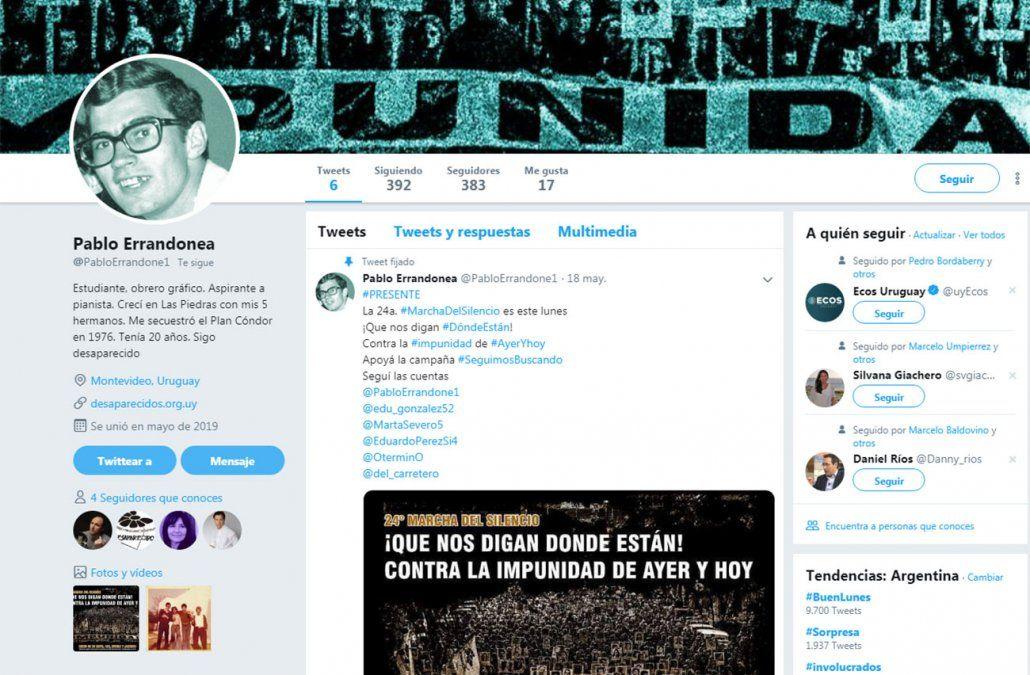 La cuenta de Twitter donde habla Pablo Errandonea