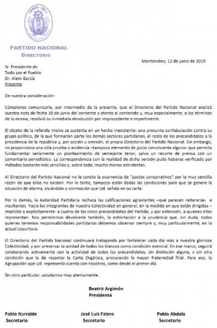 Directorio blanco rechazó planteo de Sartori por improcedente e impertinente