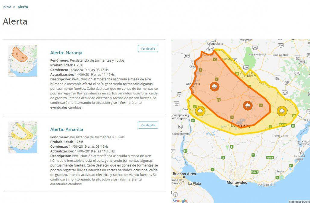 Alerta meteorológica para el Norte: Artigas, Salto y Tacuarembó, afectados