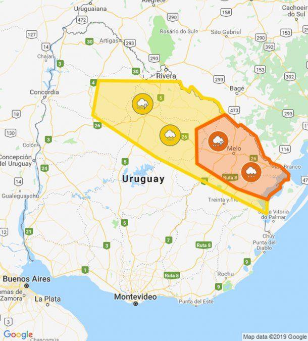 Doble alerta naranja y amarilla para el noreste del país